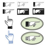 Set of pointing hands. Collection of ten different pointing hands Royalty Free Stock Photos