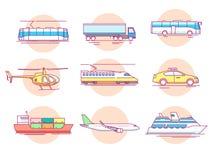 Set pojęcie linii ikon transport ilustracji