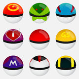 Set of Pokeball to Play In The Team on White Background. Vector Illustration Stock Photography
