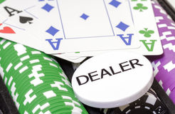 Set of poker chips, cards and dealer button Royalty Free Stock Photography