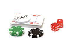 Set of poker chips, cards and dices Royalty Free Stock Photos