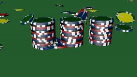 Set of poker chips of different colors isolated on green background. Set of poker chips of different colors and composition isolated on green background casino stock illustration
