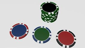 Set of poker chips of different colors isolated on white background. Set of poker chips of different colors and composition isolated on white background casino royalty free illustration