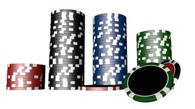Set of poker chips of different colors isolated on white background. Set of poker chips of different colors and composition isolated on white background casino stock illustration