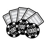 Set poker chips and poker cards for casino games. Vector illustration Stock Photography