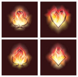 Set poker elements in fire, Royalty Free Stock Image