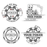 Set poker emblems. Set poker emblems or lable Vector illustration royalty free illustration