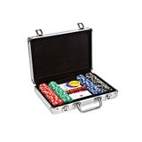 Set for poker in suitcase on white background Stock Images