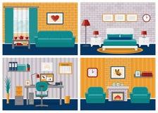 Set pokojów wnętrza w płaskim projekcie również zwrócić corel ilustracji wektora