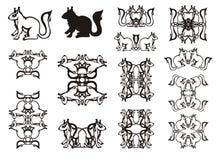 Set pokręcone wiewiórcze ramy i symbole Obrazy Royalty Free