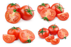 Set pokrojeni czerwoni pomidorowi warzywa na bielu obrazy stock
