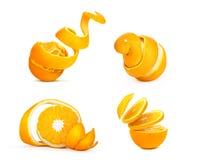 Set pokrojony? pomarańcze odizolowywać na białym tle zdjęcie royalty free