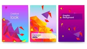 Set pokrywy, abstrakcjonistyczne geometryczne powierzchnie z teksta projektem Modny kolor na wektorowym szablonie plakat Tło z ilustracja wektor