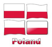 Set Poland flag Stock Photos