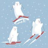 Set of polar bear characters on a skiing. stock illustration