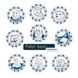 Set of polar bears logos Royalty Free Stock Photo