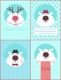 Set of polar bears for the new year Stock Photography
