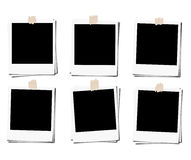 Set of polaroid photo films frame with tape, isolated on white backgrounds Stock Photos