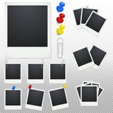 Set of polaroid photo frames with clips and thumbtacks Stock Image