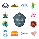 Set of police badge, catering services, triple, couch, jellyfish, cacao, trekking, pregnancy, firemen icons. Set Of 13 simple  icons such as police badge Royalty Free Stock Photo