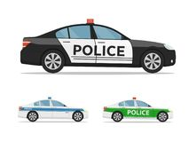Set of police cars side view, isolated on white background. International police car. Vector illustration in flat style Royalty Free Stock Photos