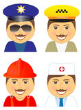 Set police, doctor, fireman, taxi driver Stock Photos