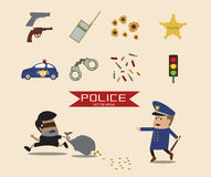 Set of Police element cartoon Royalty Free Stock Photo