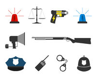 Set of police elements equipment icons. Protect and Serve label. Royalty Free Stock Image