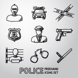 Set of police freehand icons. Vector Stock Photo