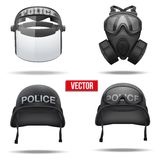 Set of Police helmets and mask. Vector Stock Images