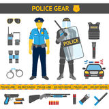 Set of Police icons - gear, car, weapons, two Royalty Free Stock Photography