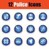 Set of police icons. Stock Photo