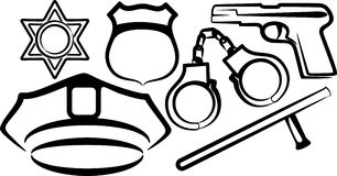 Set of police items. Simple illustration with a set of police items Stock Photos