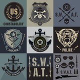 Set of police law enforcement badges and logo Royalty Free Stock Photos