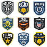 Police patches. Set of police law enforcement badges and patches vector illustration