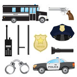 Set of police objects. Stock Images