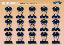 Set of police officer woman emoticons. stock illustration