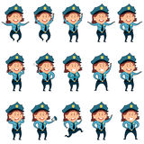 Set of police women flat icons2 Stock Image