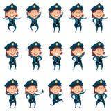 Set of police women flat icons Royalty Free Stock Photo