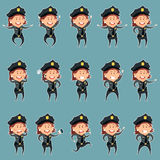 Set of police women flat icons3 Stock Images