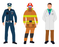 Set of Policeman, Doctor, Fireman flat icons. Service 911. Cartoon Vector illustration Royalty Free Stock Photos