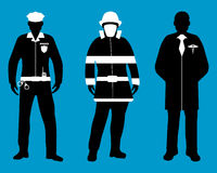 Set of Policeman, Doctor, Fireman flat icons. Service 911. Silhouette Vector illustration Royalty Free Stock Images