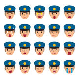 Set of policeman faces showing different emotions. For design Stock Photos