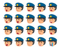 Set of policeman faces showing different emotions. For design Royalty Free Stock Images