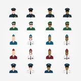 Set of policeman military pilot flight attendant woman pilot in. Sunglasses officer, Major General, cop, trooper in flat style vector illustration