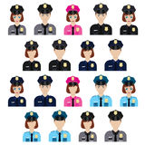 Set of policemen icons. Royalty Free Stock Photos
