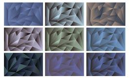 Set poligonalni abstrakcjonistyczni t?a Tr?jgraniasty abstrakcjonistyczny t?o obrazy stock