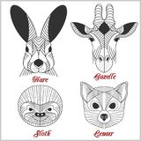 Set poligonalni zwierzęta Poligonalni logowie Geometryczny set zając, gazela, opieszałość, lemur na bielu Zdjęcie Royalty Free