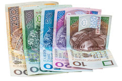 Set of polish banknotes Royalty Free Stock Photography