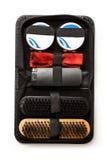 Set of polish cream and shoe brushes Royalty Free Stock Photography